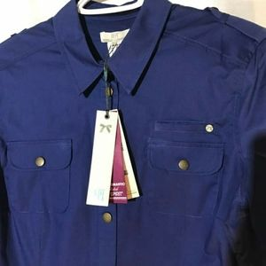 💥NWT! DEPT Military Blue Fitted Stretch Shirt L